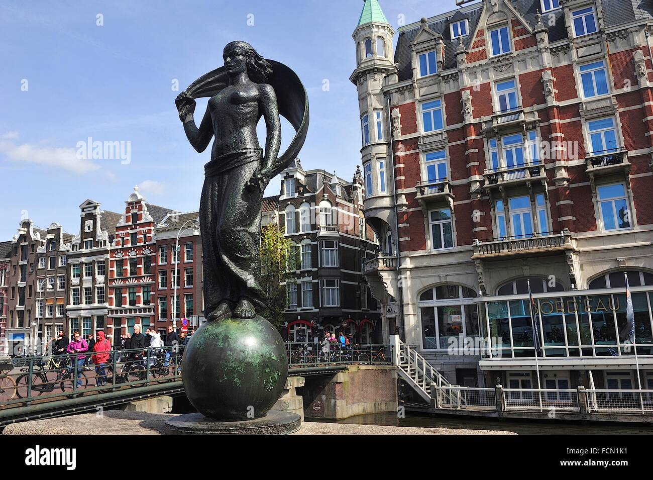 Statue of Lady Fortune on the Rokin. Amsterdam, Netherlands - Stock Image