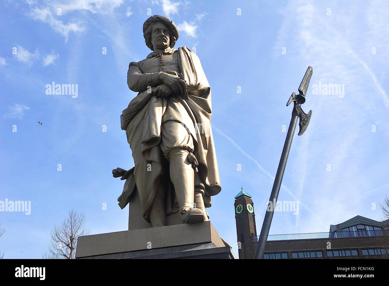 Statue of Rembrandt, by Louis Royer, XIXth century, in the Rembrandtplein Rembrandt Square. Amsterdam, Netherlands - Stock Image