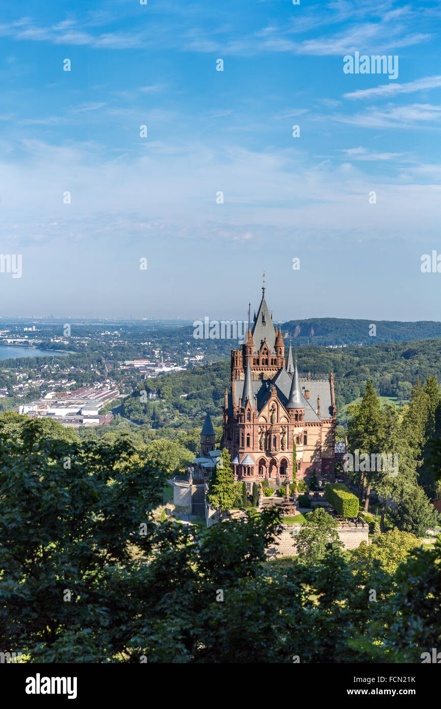 Castle Drachenburg or Drachenfels  outside Bonn. - Stock Image