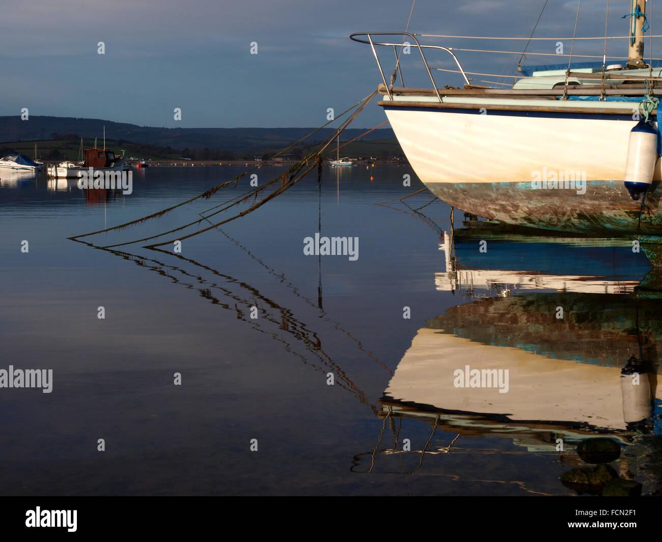 Yacht moored on the Exe Estuary, Exmouth, Devon, UK - Stock Image
