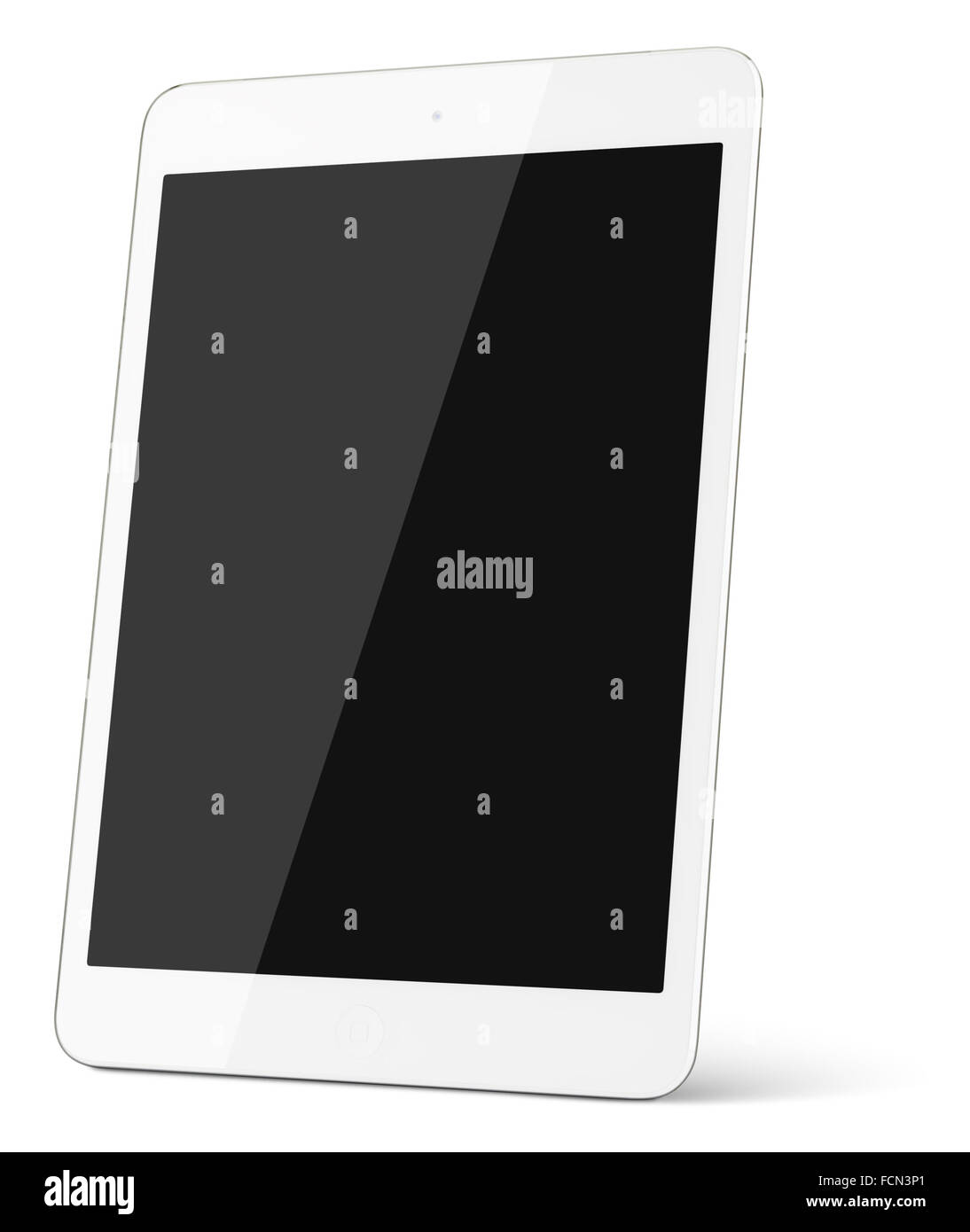 White tablet computer isolated on white background. contains clipping paths - Stock Image