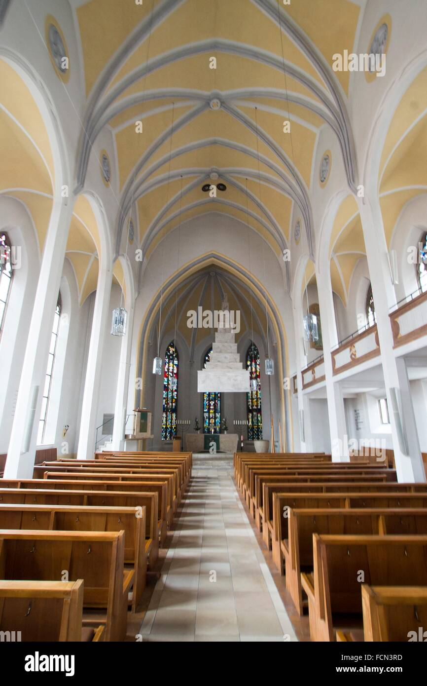 nave, St Matthaus Church, Ingolstadt, Germany. Stock Photo