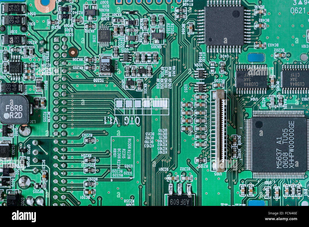Close up of a card of integrated electronic circuit - Stock Image