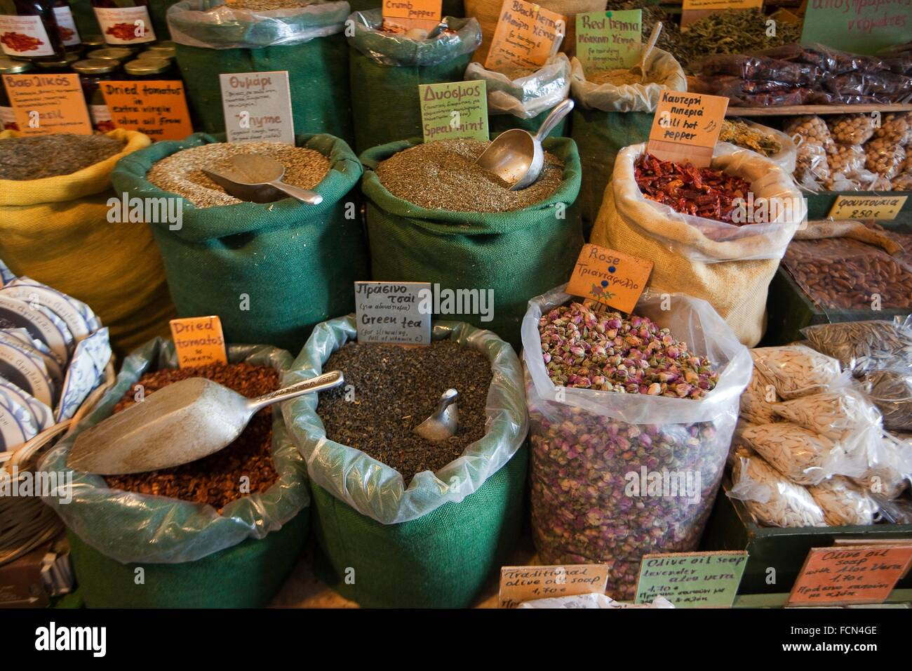 Different legumes in sacks at the market, Naxos, Cyclades Islands, Greek Islands, Greece, Europe. - Stock Image