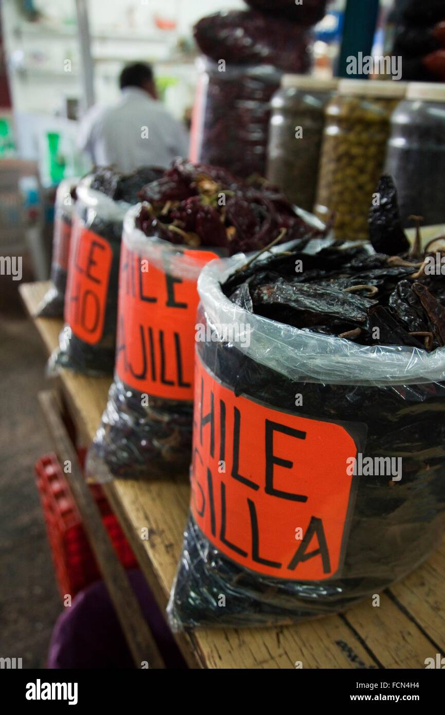 Different legumes in sacks at the market, La Merced, Mexico, Mexico City, Central America. - Stock Image