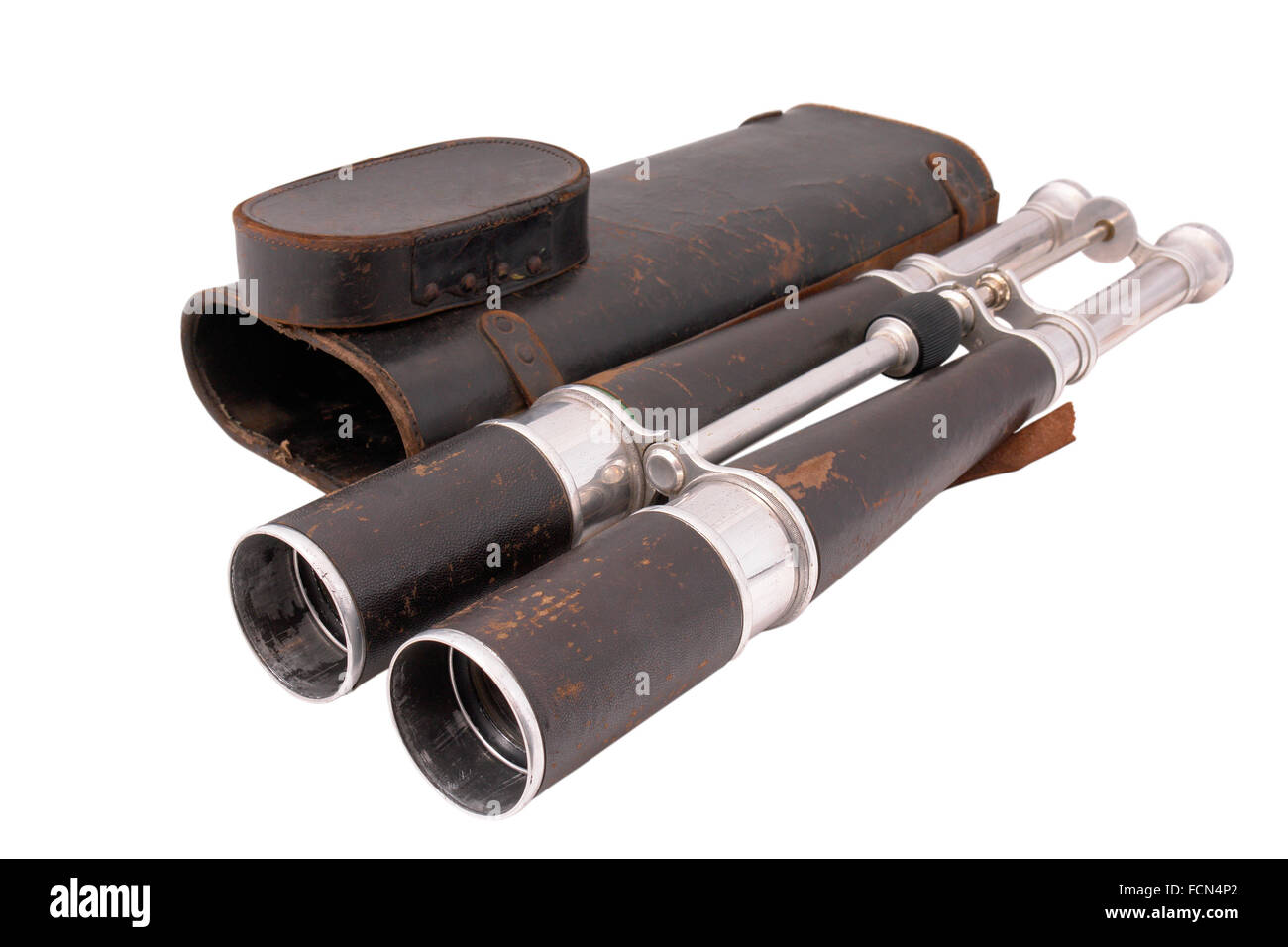 19 century binocular of dirigible (Zeppelin) captain with leather case. Made in France. Paris. - Stock Image