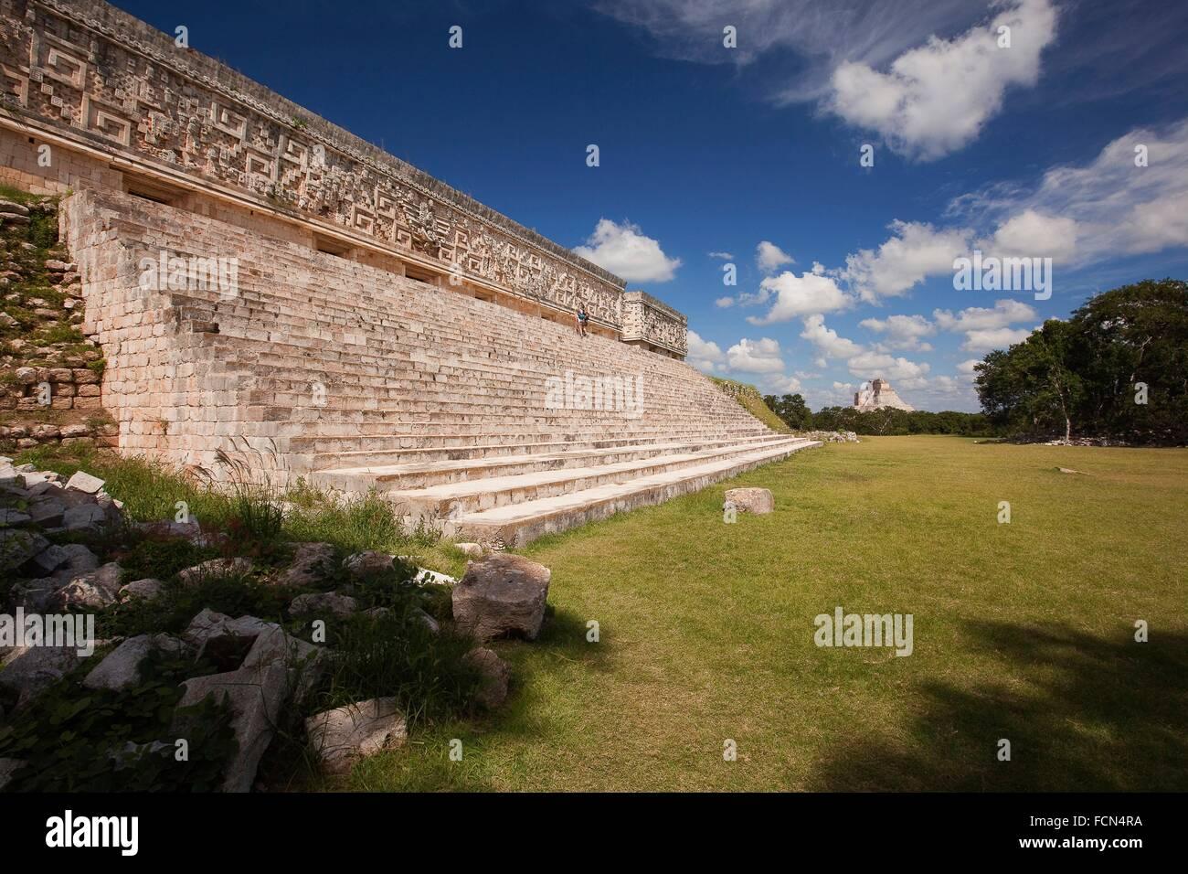 Palacio del Gobernador-Governer´s Palace, Maya archeological site Uxmal, Yucatan Province, Mexico, Central - Stock Image