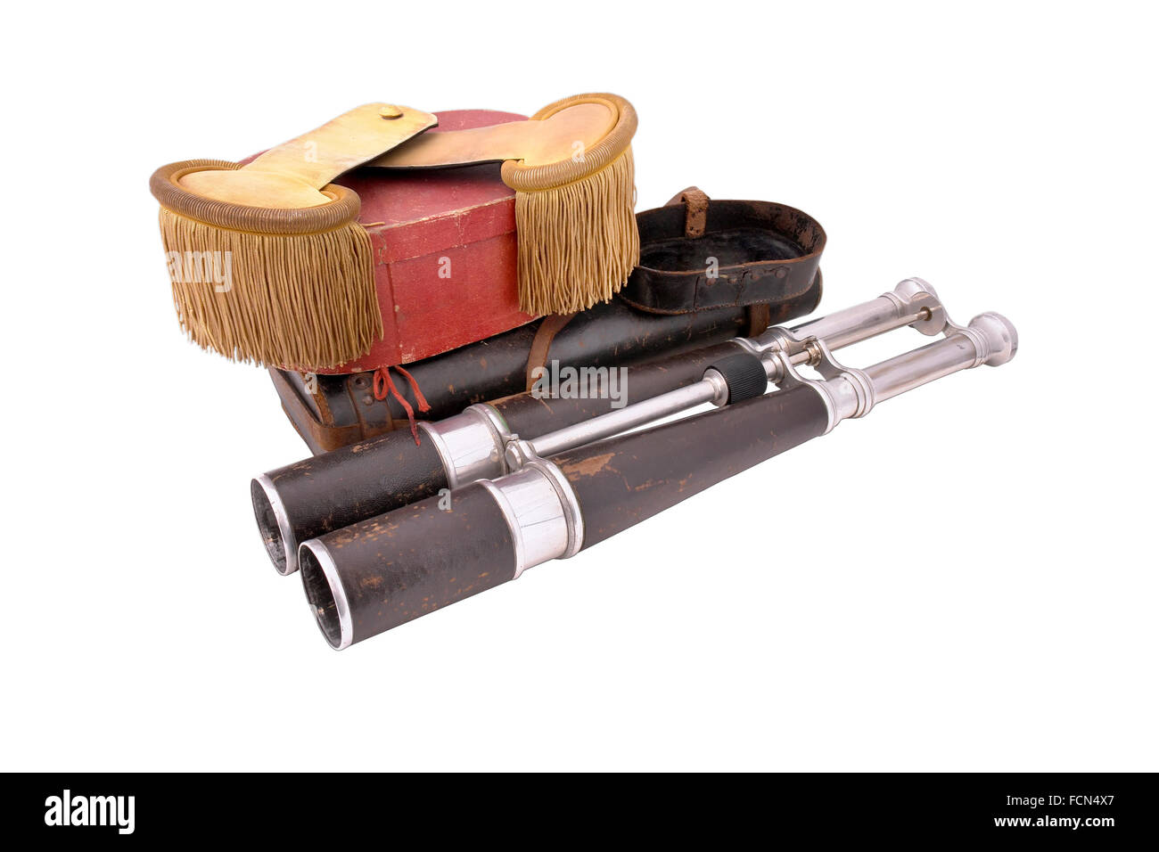 Binocular of dirigible (Zeppelin) captain with leather case. - Stock Image