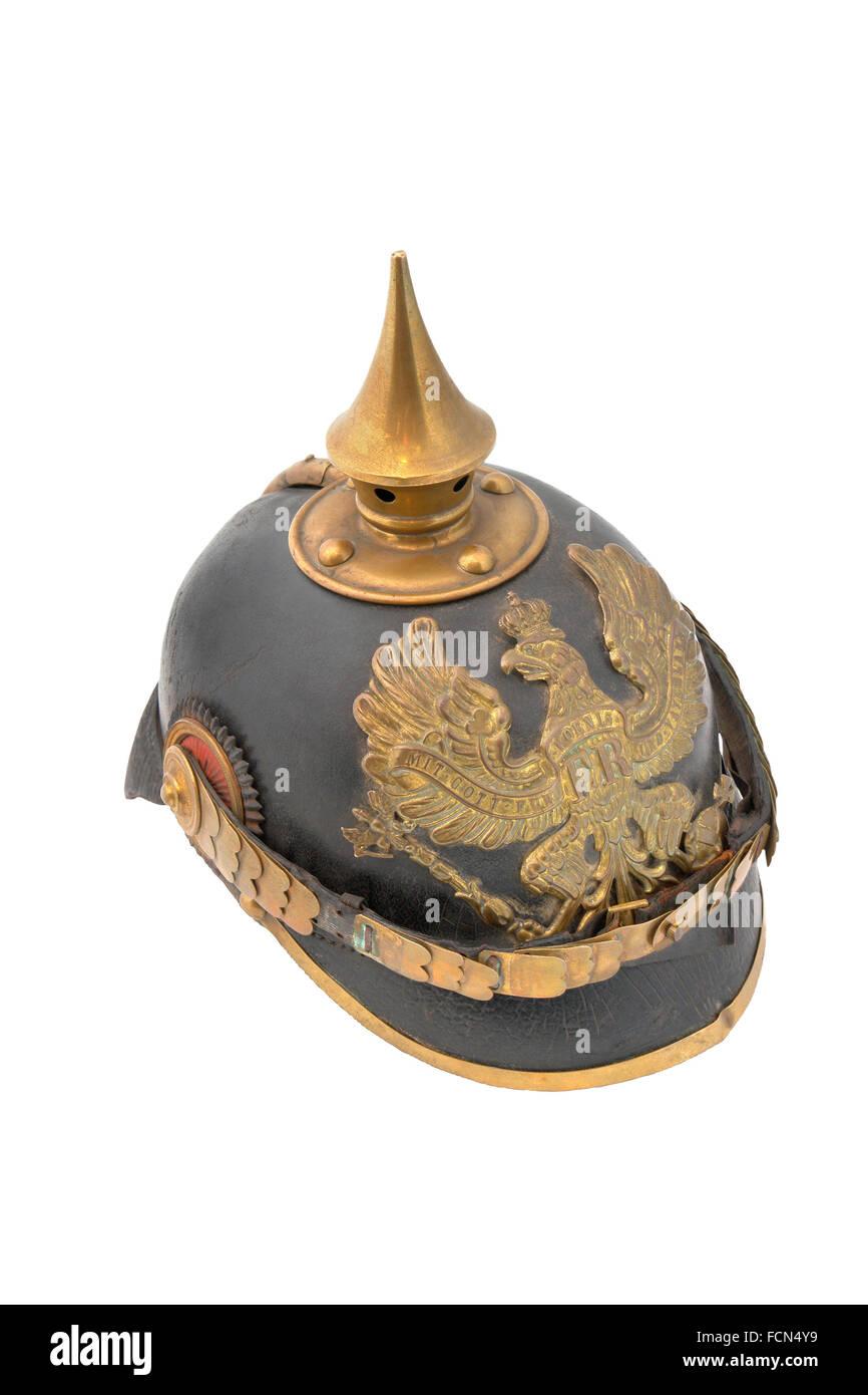 Old German helm (WWI) so called Pickelhaube (peaked helm). Germany Stock Photo
