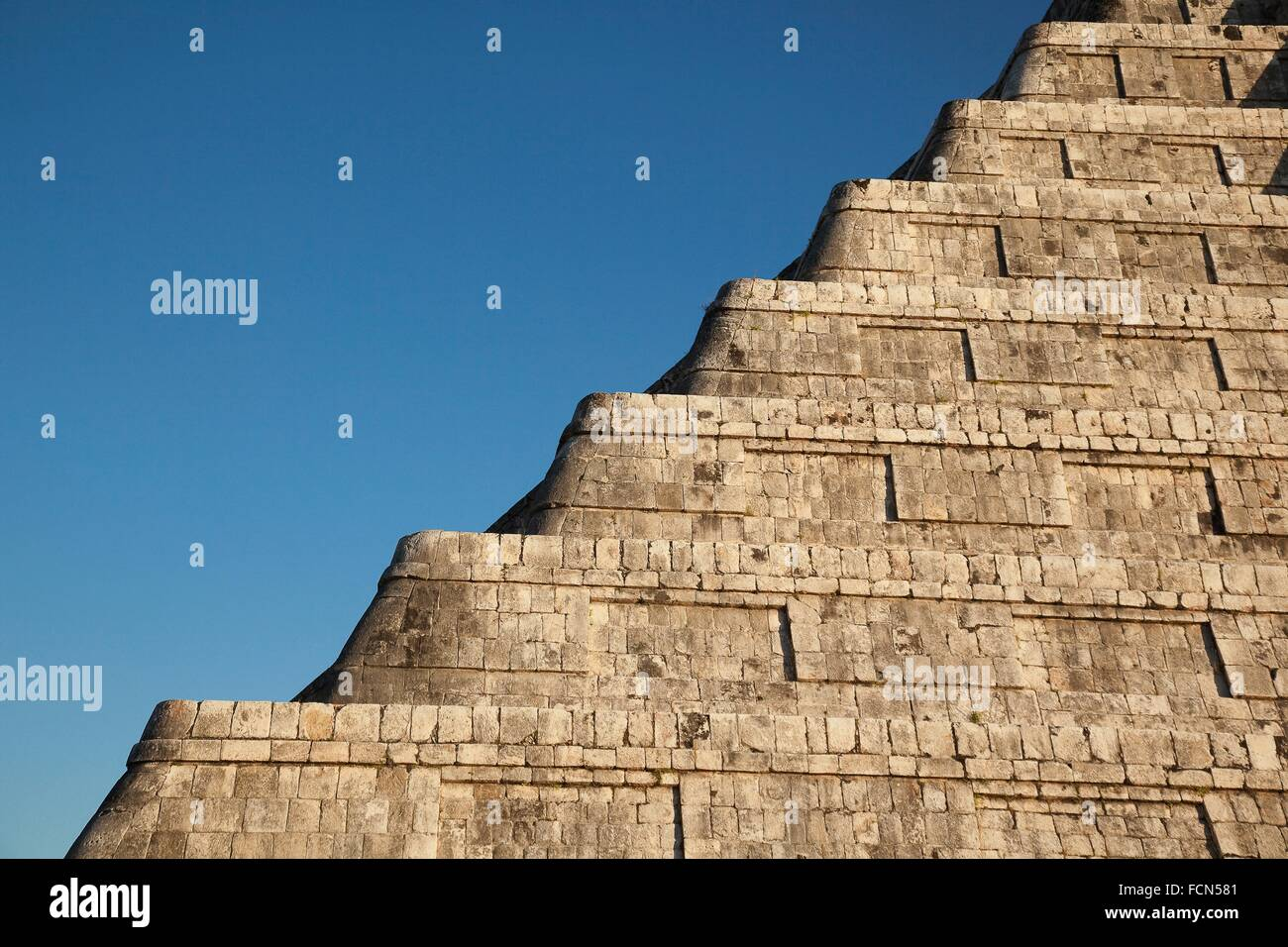 Detail of the Pyramid of Kukulcan-El Castillo, Maya Archeological Site Chichen Itza, Yucatan Province, Mexico, Central - Stock Image