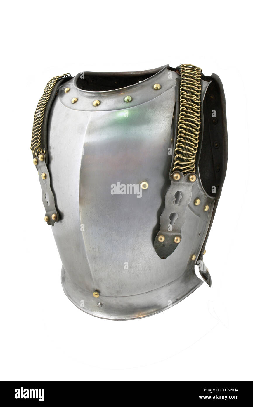 Armor (cuirass) of French dragoon (front side). France. 19th century. - Stock Image