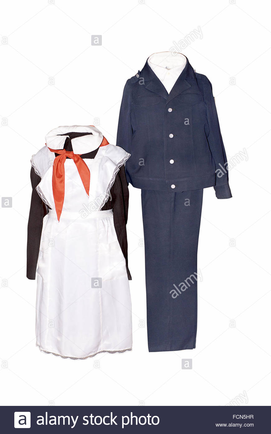 Soviet union school uniform with red Young Pioneer neckerchief. Former USSR - Stock Image