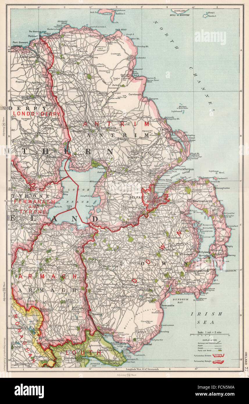 Map Of N Ireland.Ulster N Ireland Antrim Armagh Belfast Stock Photo 93893194 Alamy