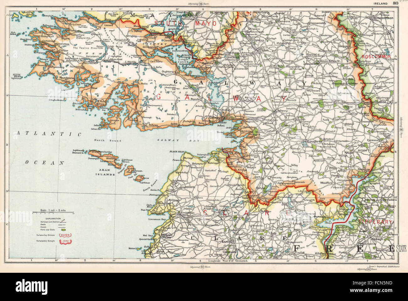 Galway Bay Ireland Map.Ireland West Galway Bay Clare Parliamentary Divisions Boroughs Bacon