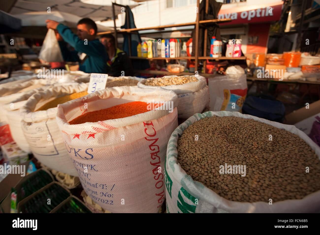 Different legumes in sacks at the market, Selcuk, Izmir, Aegean Coast, Turkey, Europe. - Stock Image