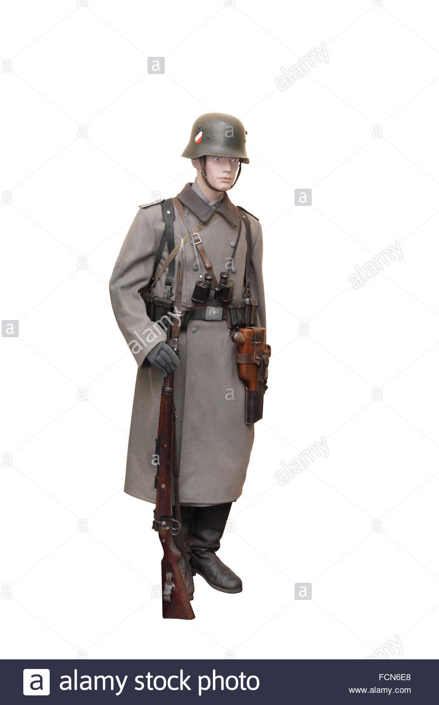 Germany at the WW2. Uniform of corporal of German army (Wehrmacht) in full ammunition. - Stock Image