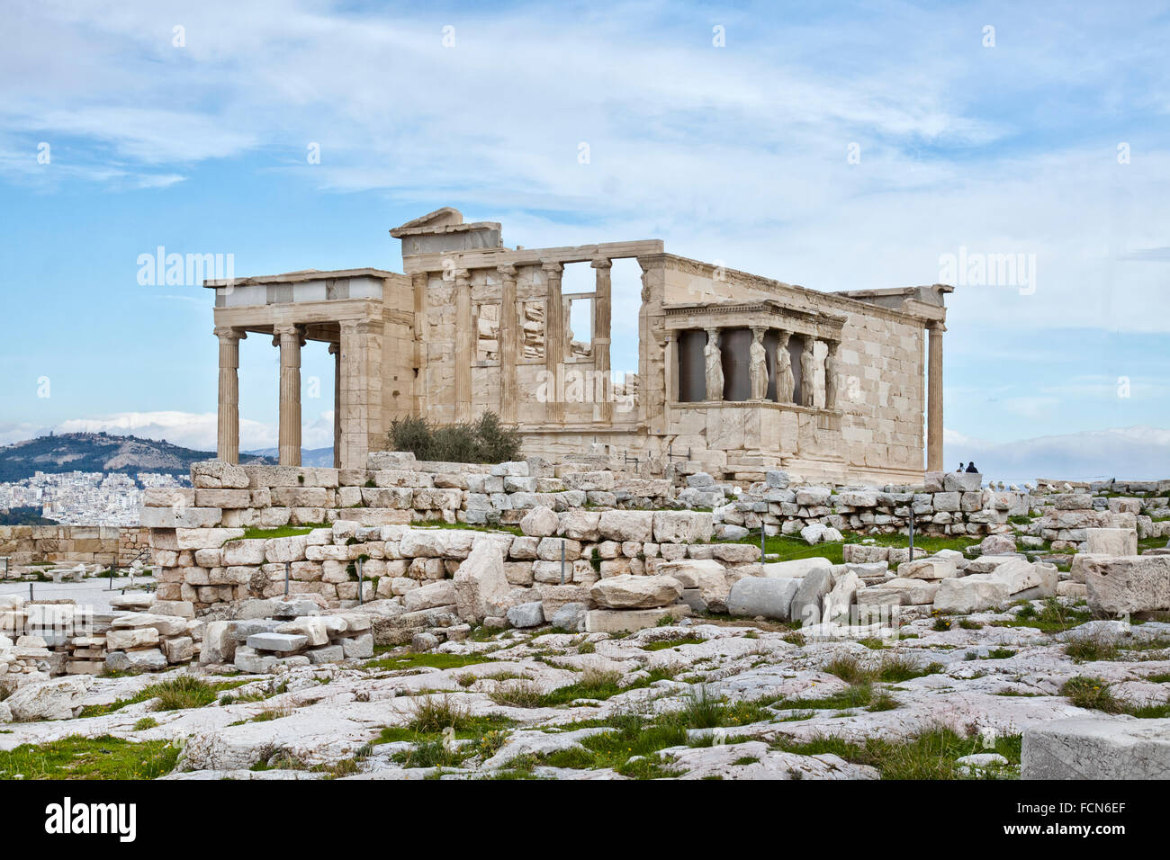The Erechtheion is an ancient Greek temple on the north side of the Acropolis of Athens in Greece. - Stock Image