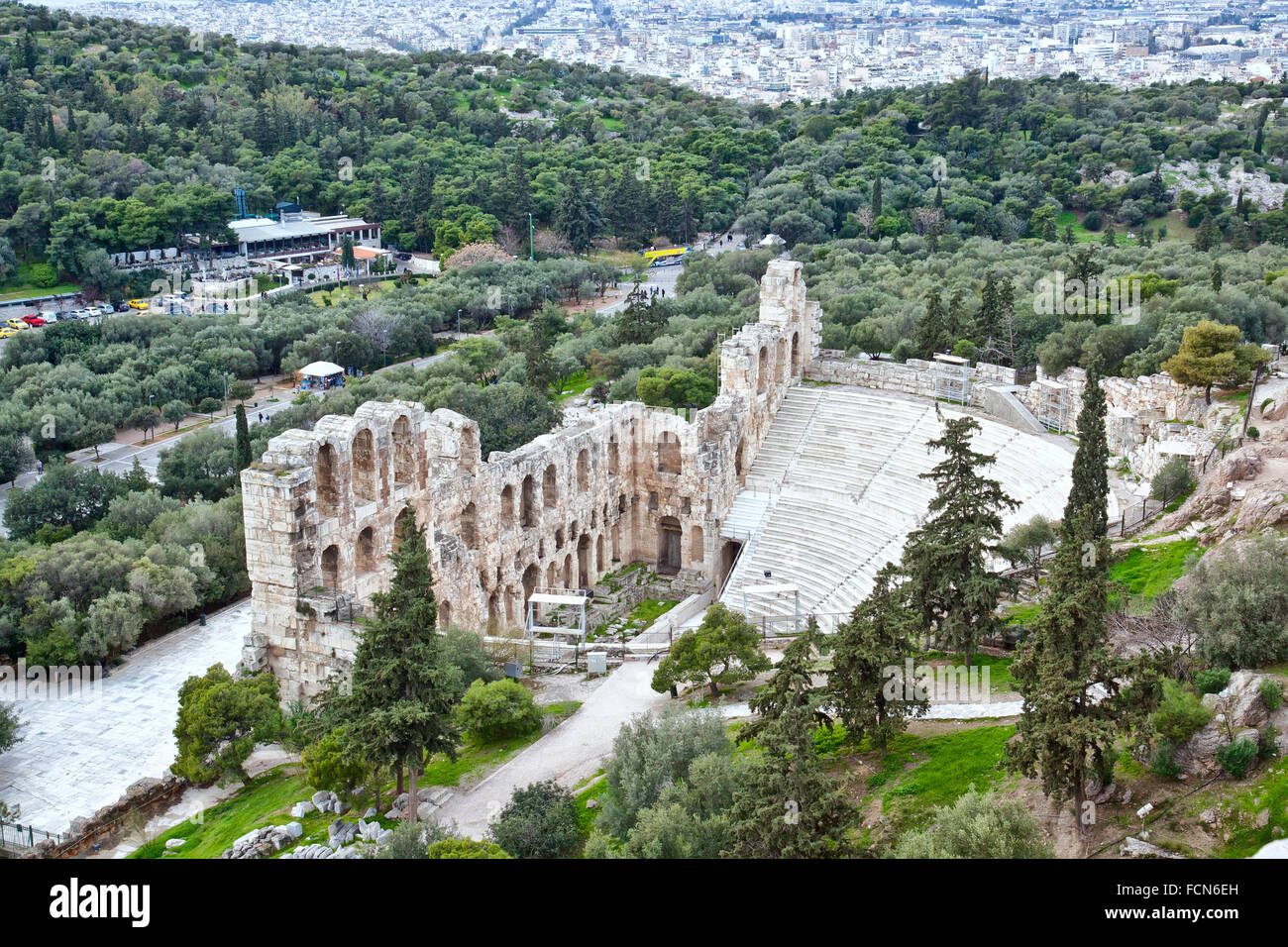 Remains of Odeon of Herodes Atticus near the Acropolis of Athens. - Stock Image
