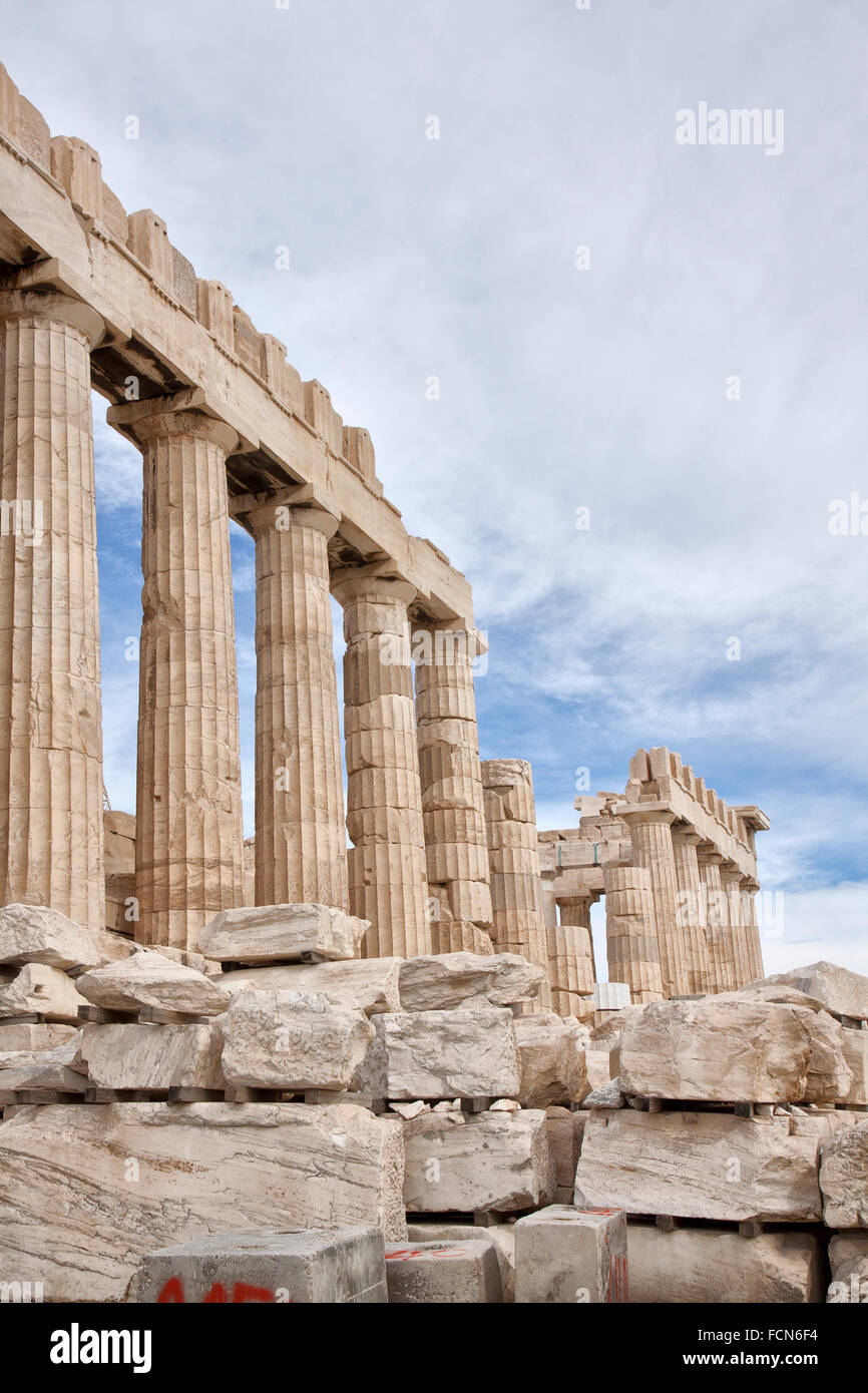 The Parthenon is a former temple on the Athenian Acropolis, Greece. Stock Photo