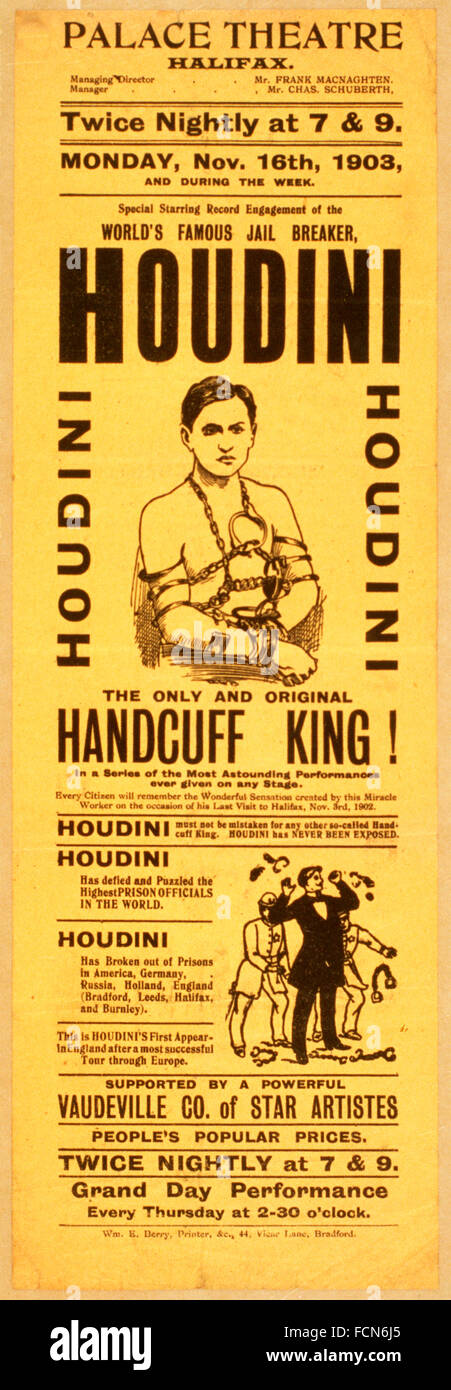 A 1903 poster for a Harry Houdini show at the Palace Theatre in Halifax, England, UK - Stock Image