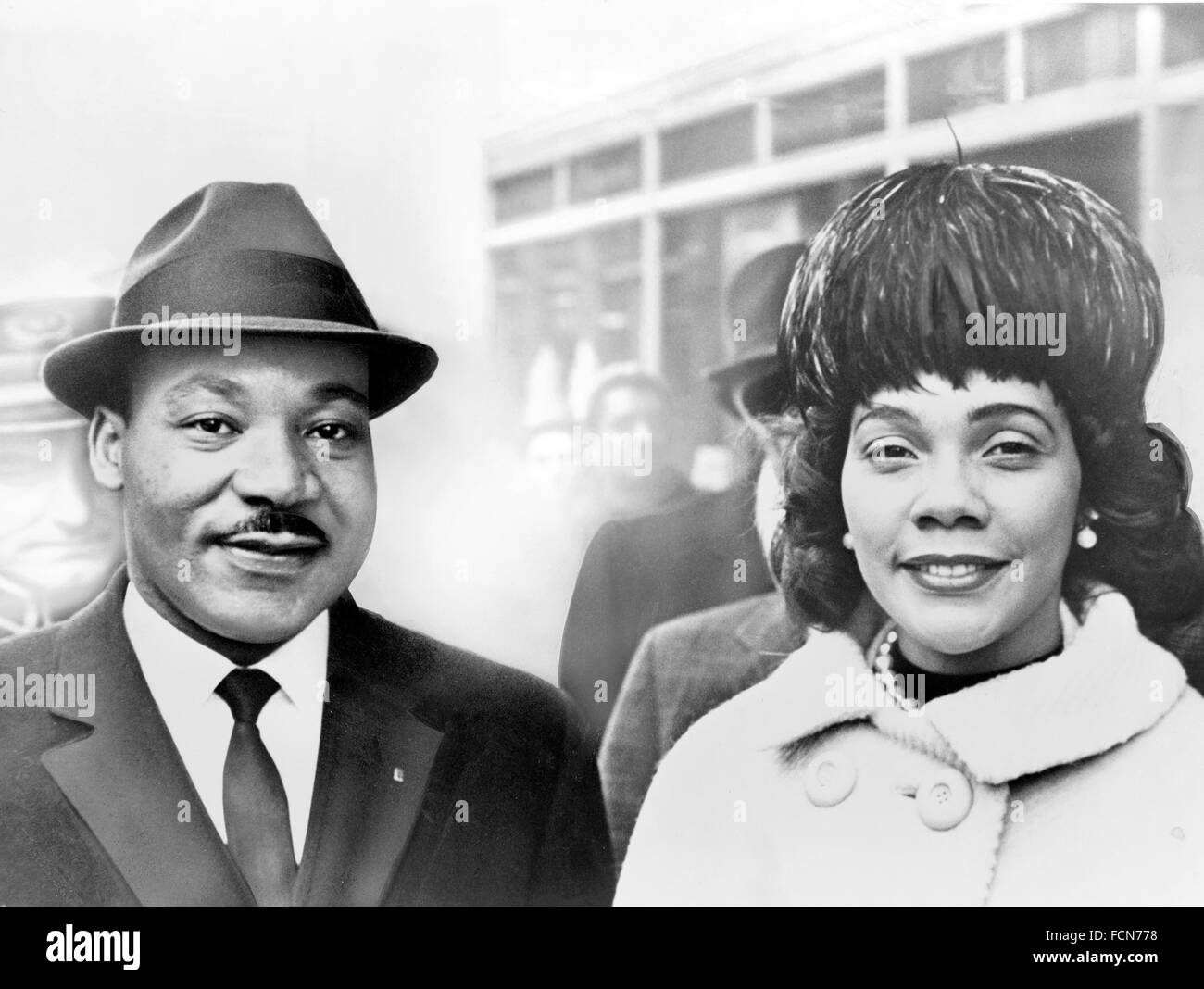 Dr Martin Luther King Jr with his wife, Coretta Scott King, 1964. Taken from a photographic print that was heavily retouched by hand. Stock Photo