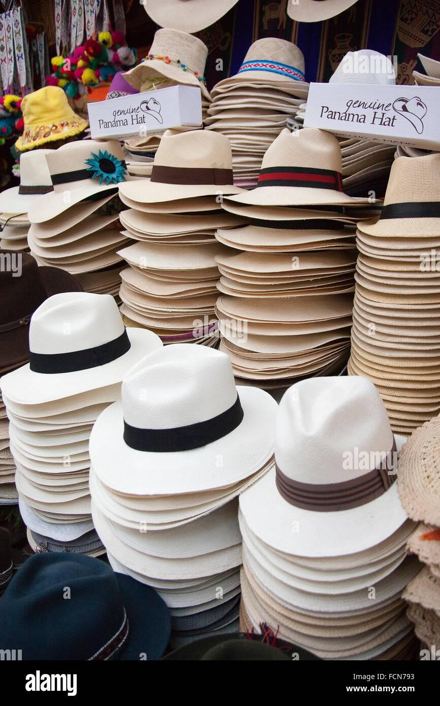 38bfe0cc Panama Hats in a shop at the market, Pisaq, Cuzco Region, Peru, South  America.