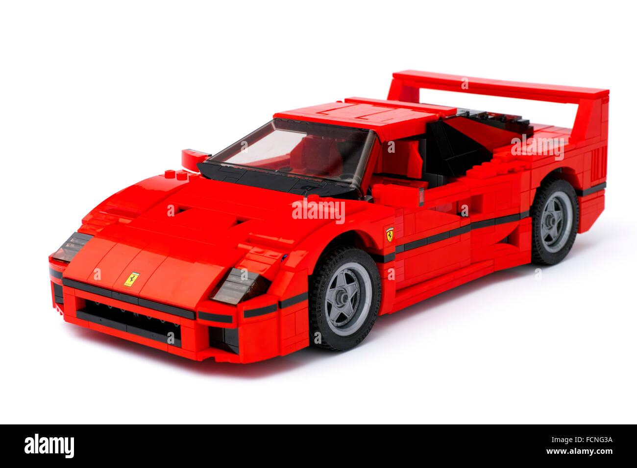 Tambov, Russian Federation - January 03, 2016 LEGO Creator Expert Ferrari F40 car on white background. Studio shot. - Stock Image