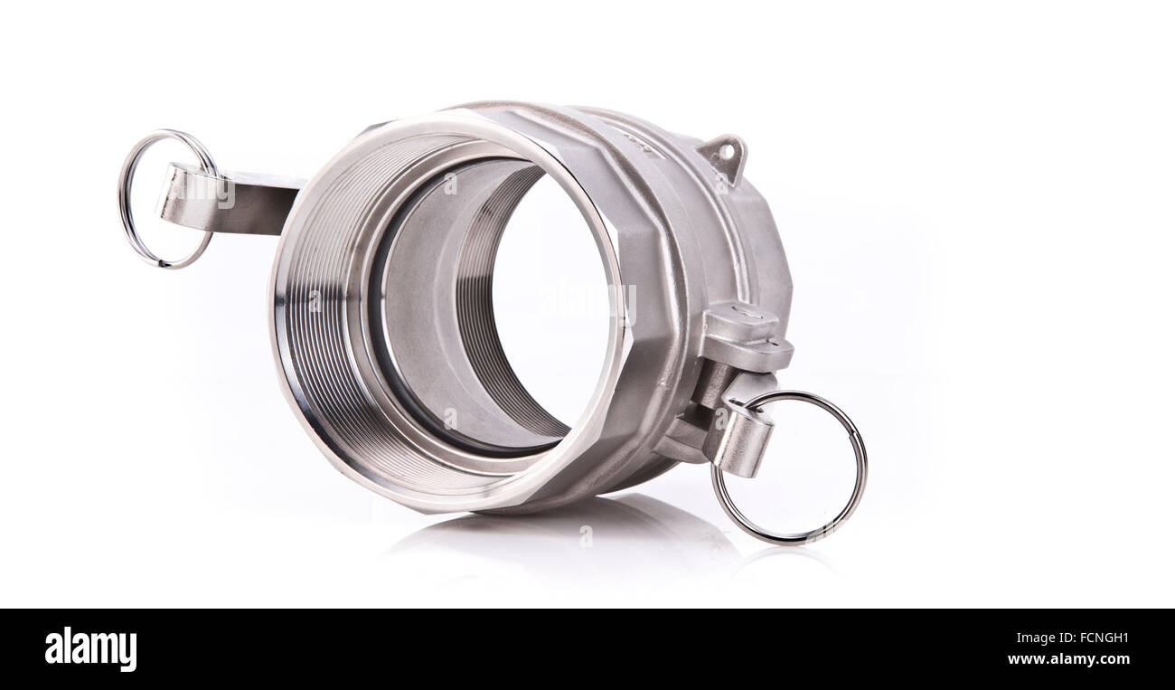 Abstract Photo of a Stainless Steel Threaded Pipe fitting - Stock Image