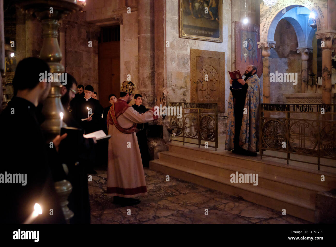 Armenian Orthodox priests taking part in a mass procession at the Chapel of the Division of the Raiment or the Robes Stock Photo