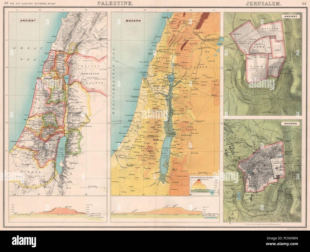 Palestine jerusalem 12 tribes of israel w e sections relief map palestine jerusalem 12 tribes of israel w e sections relief map 1901 gumiabroncs Choice Image