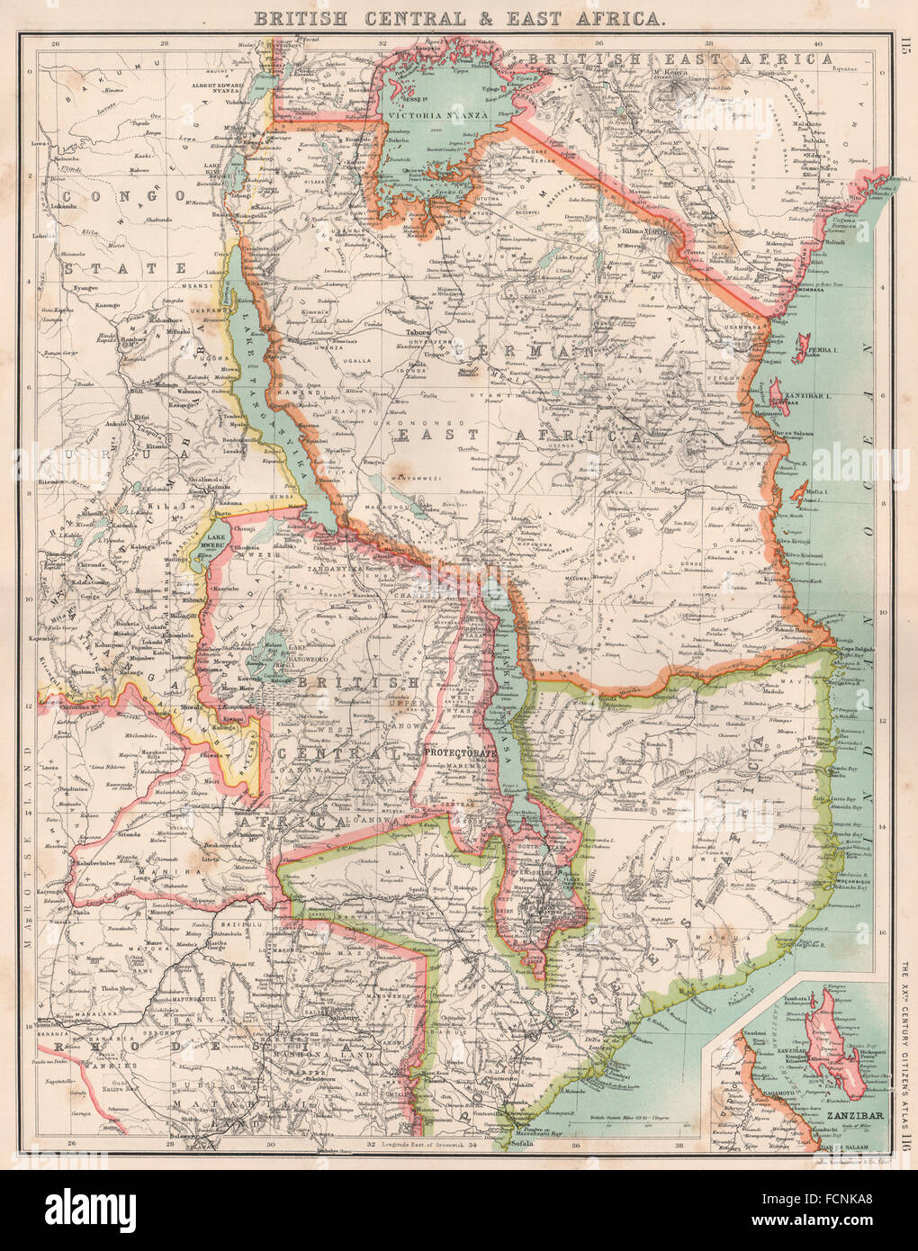 East africa british central africa german east africa malawi stock east africa british central africa german east africa malawi tanzania 1901 map gumiabroncs Gallery