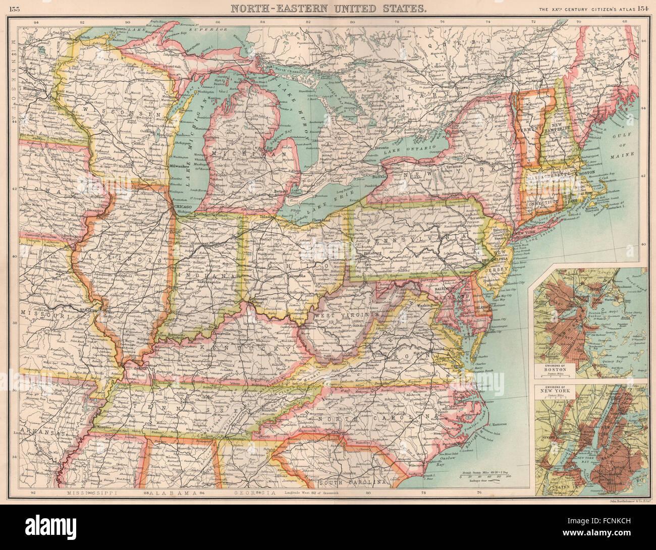 USA NORTH-EAST: United States. Inset Boston & New York. BARTHOLOMEW ...