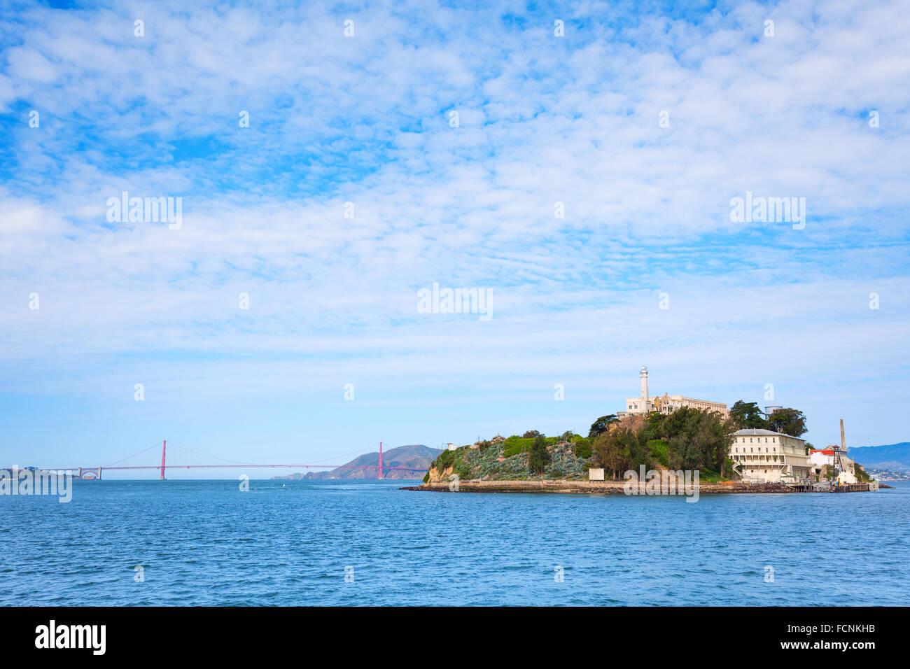Golden Gate bridge and Alcatraz from SF bay - Stock Image