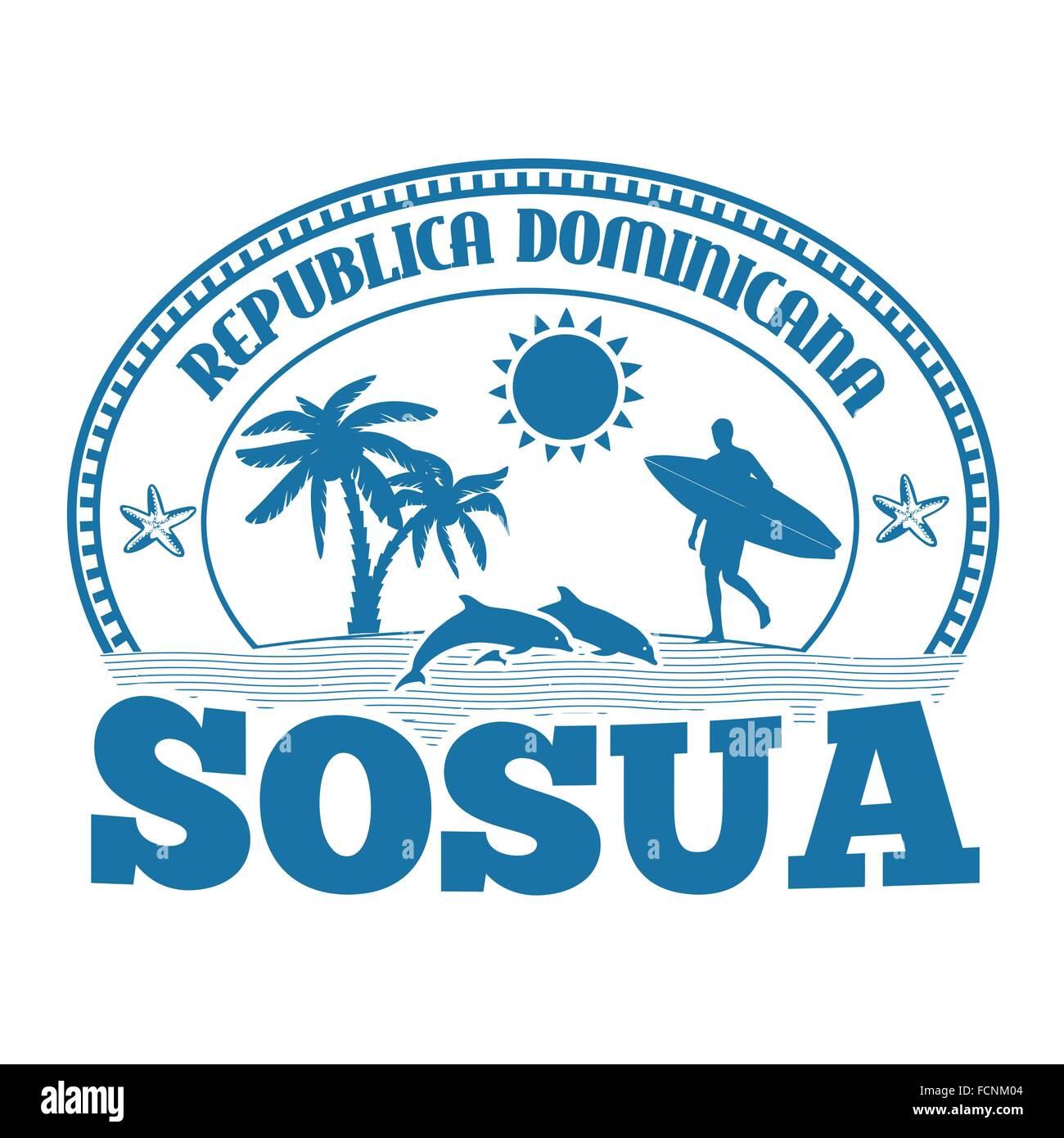 Sosua, Dominican Republic, stamp or label on white background, vector illustration Stock Vector
