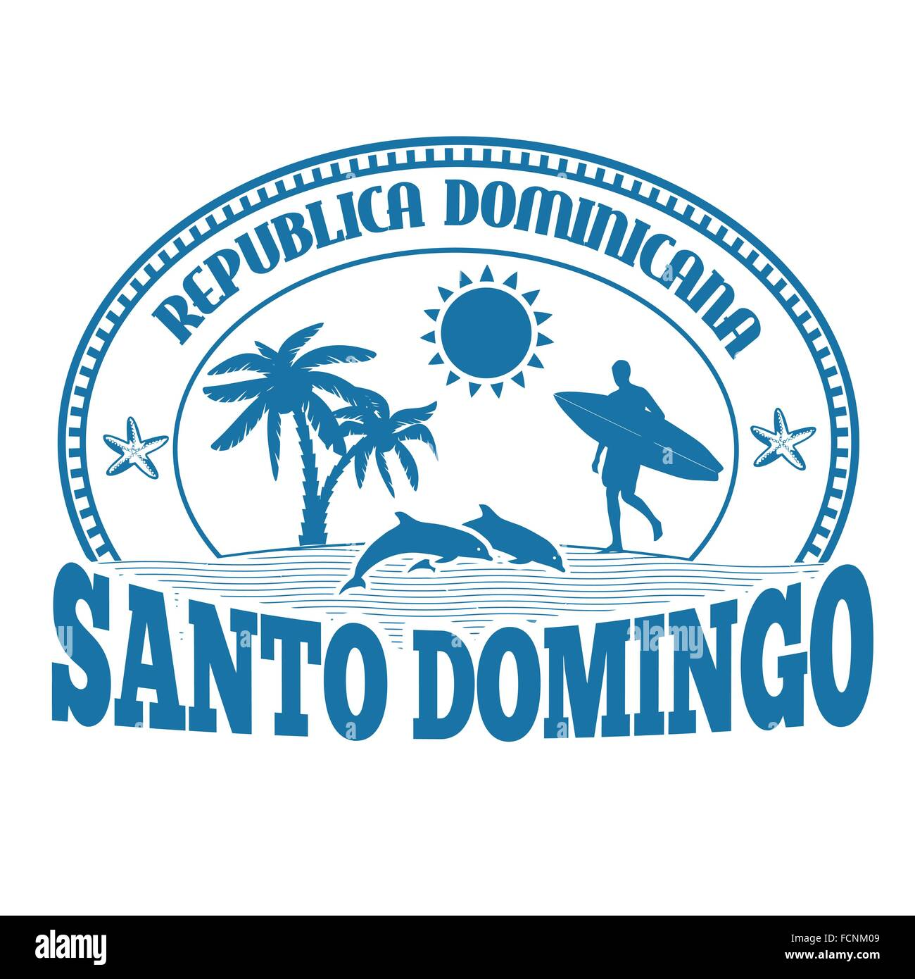 Santo Domingo, Dominican Republic, stamp or label on white background, vector illustration Stock Vector