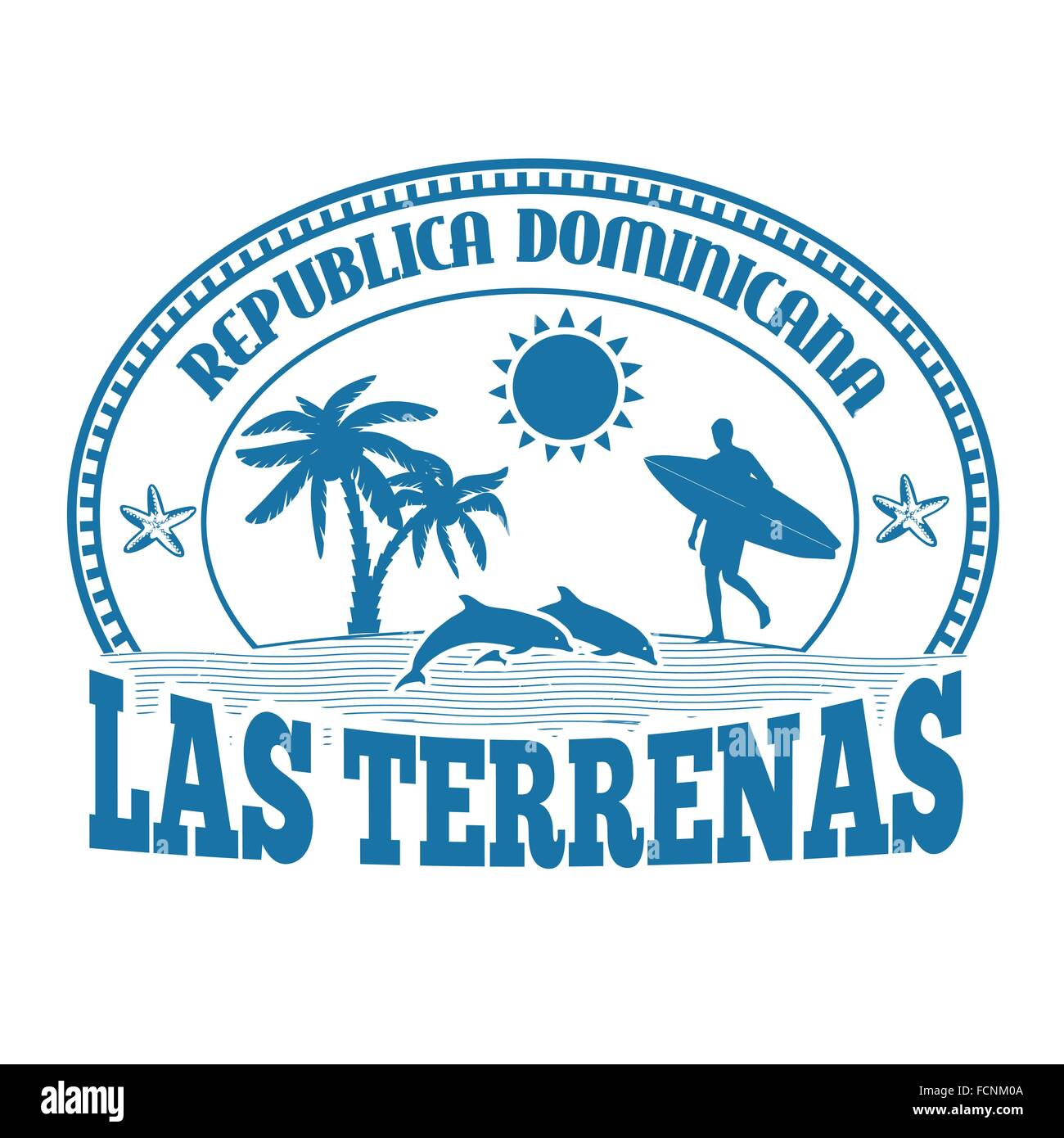 Las Terrenas, Dominican Republic, stamp or label on white background, vector illustration Stock Vector