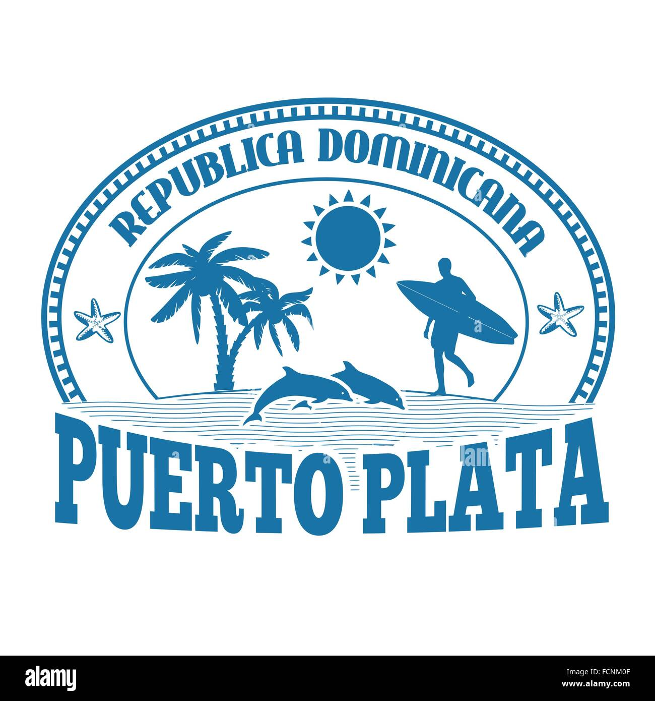 Puerto Plata, Dominican Republic, stamp or label on white background, vector illustration Stock Vector