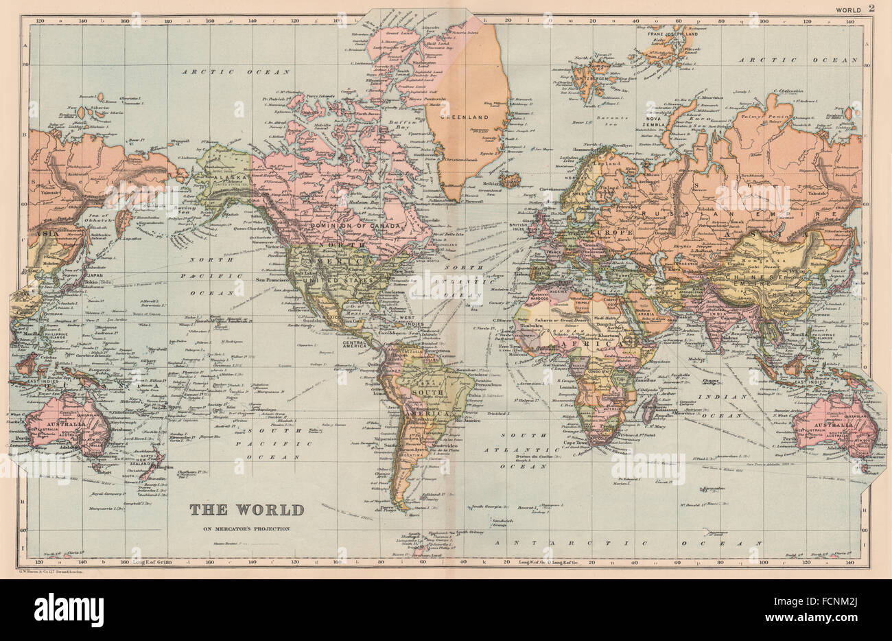 Antique Map Of World.World Mercator S Projection Shipping Routes Bacon 1893 Antique