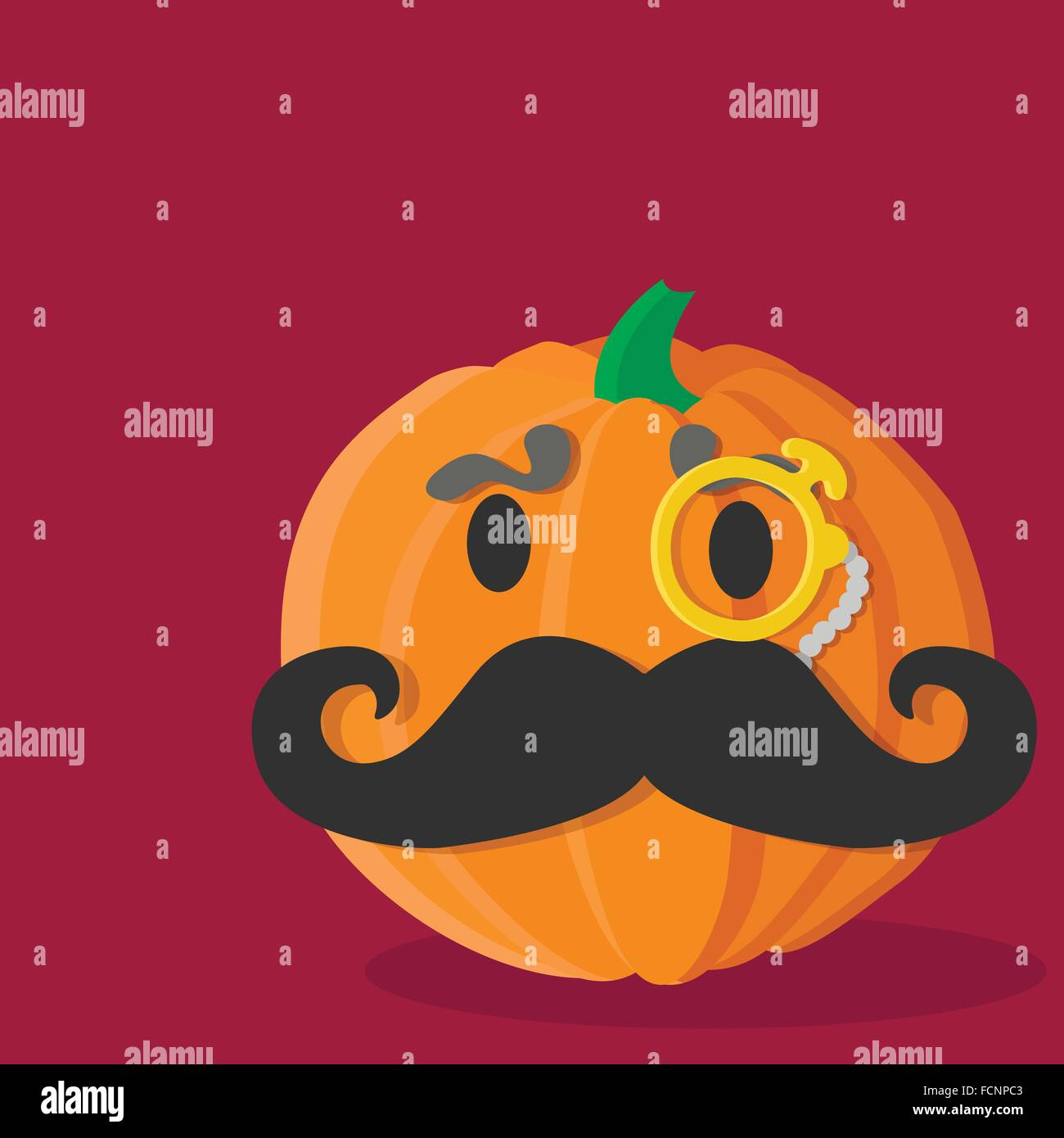 cartoon pumpkin mustache aristocrat - Stock Image