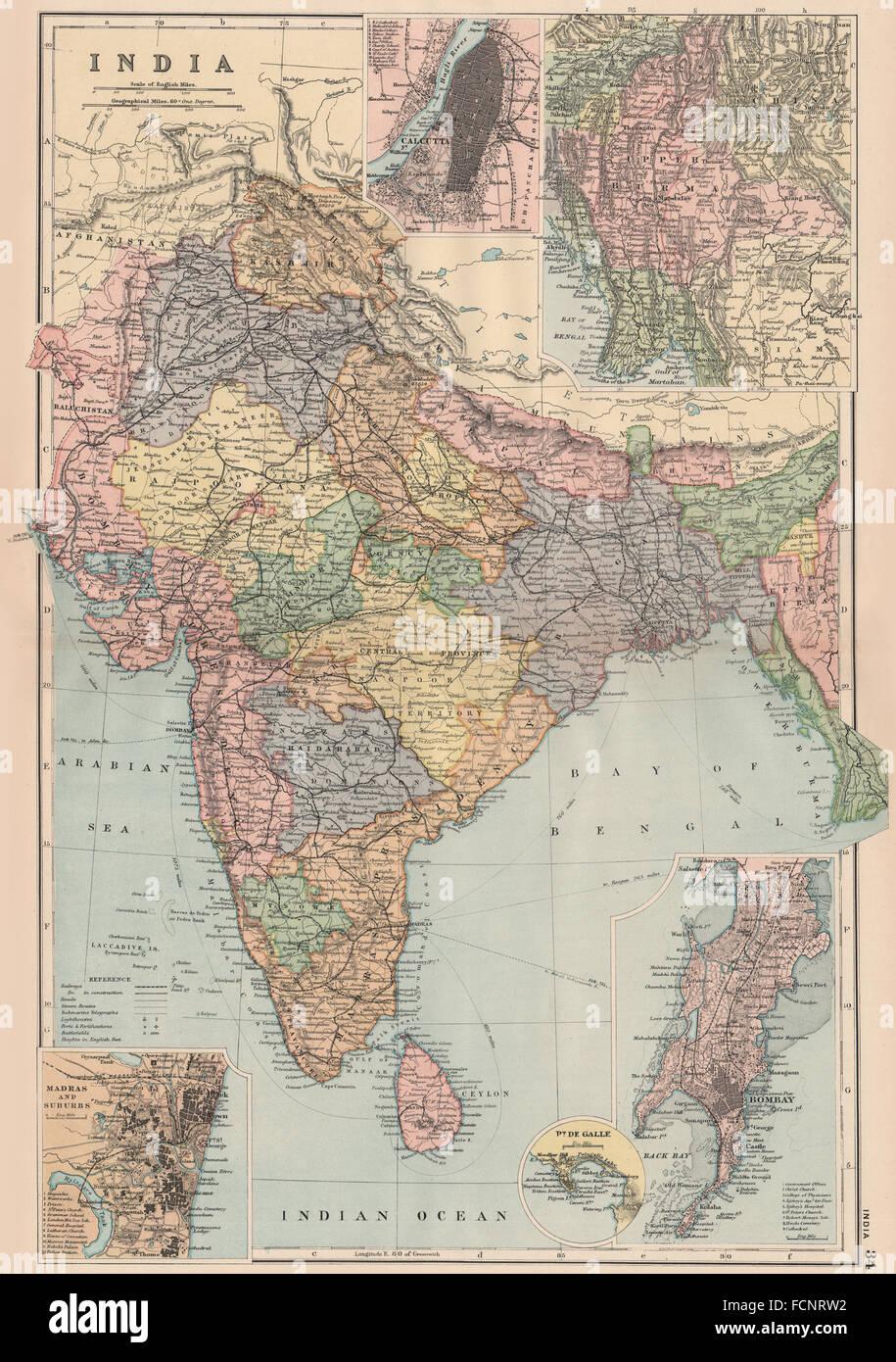 BRITISH INDIA:Calcutta(Kolkata)Burma Stock Photo: 93907438 - Alamy on new town kolkata map, bombay calcutta on a map, bengali calcutta map, kolkata west bengal on a map, asia calcutta map, kolkata calcutta diagram, india calcutta map,