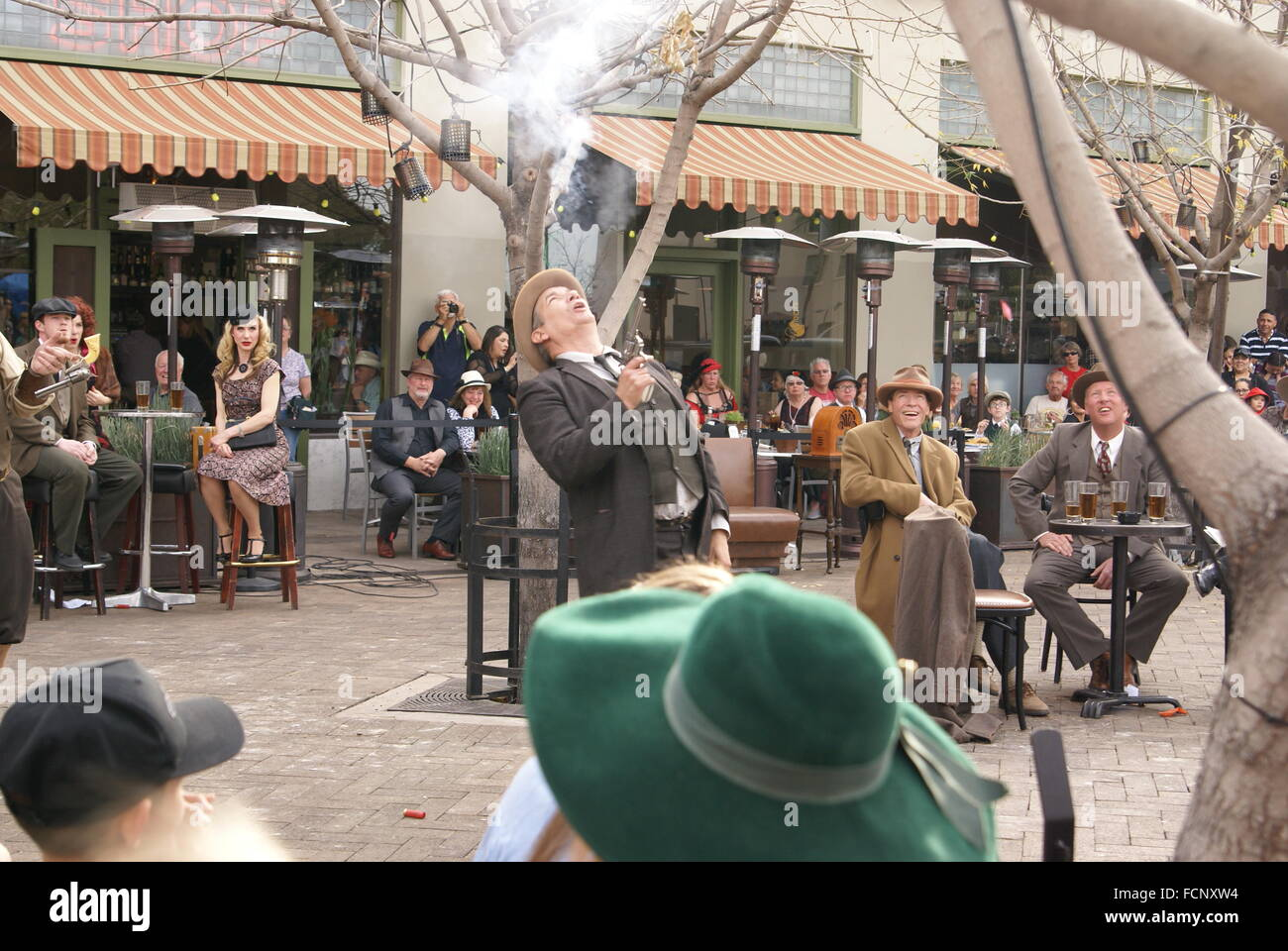Tucson, Arizona, USA. 23rd January, 2016. Actors perform a reenactment of the cature of John Dillinger, public enemy - Stock Image