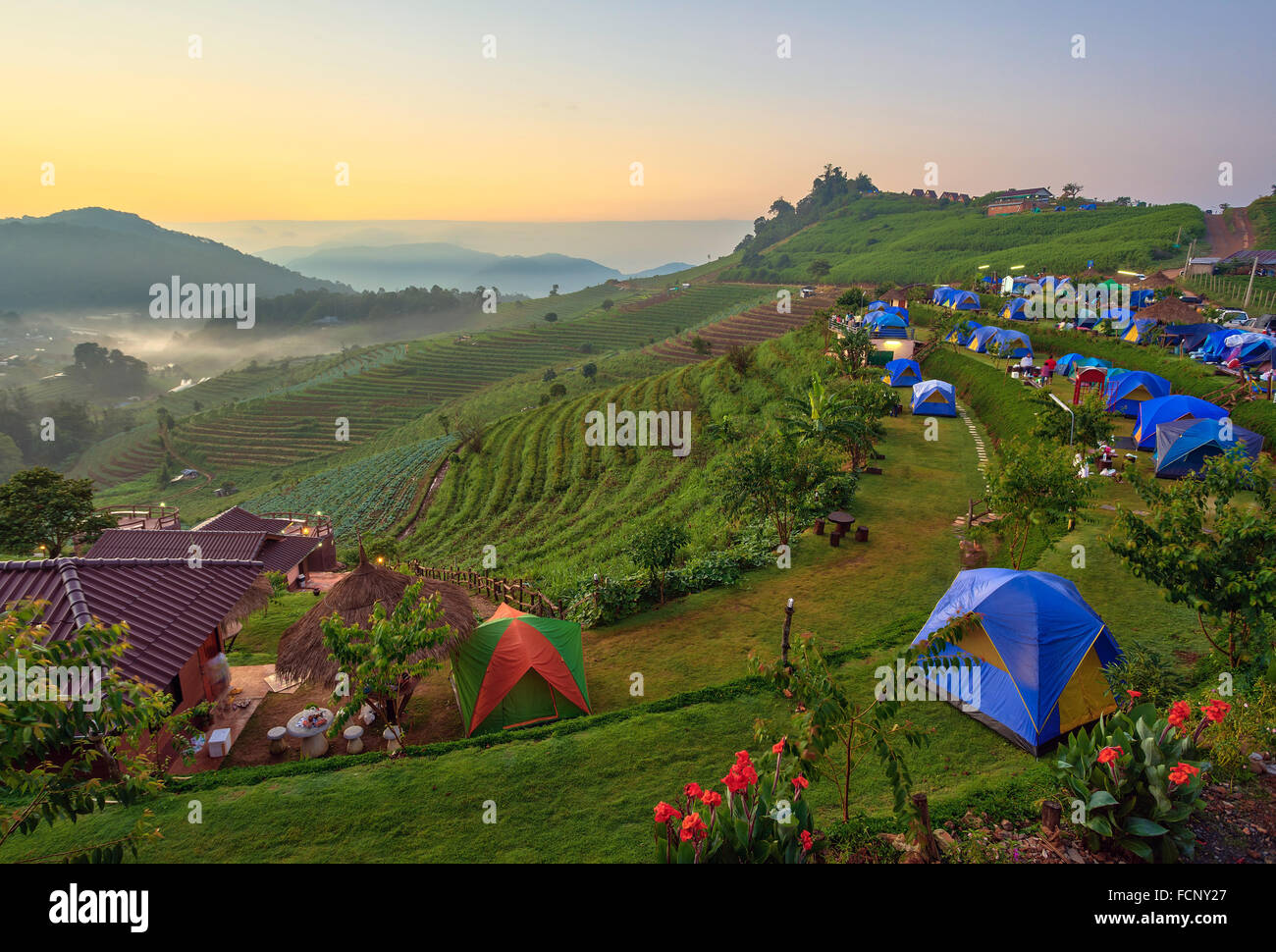 camping and sunrise on the mountain, Chiang Mai Thailand - Stock Image