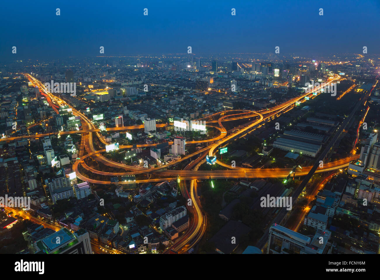 Aerial view of Bangkok city skyline , Thailand - Stock Image