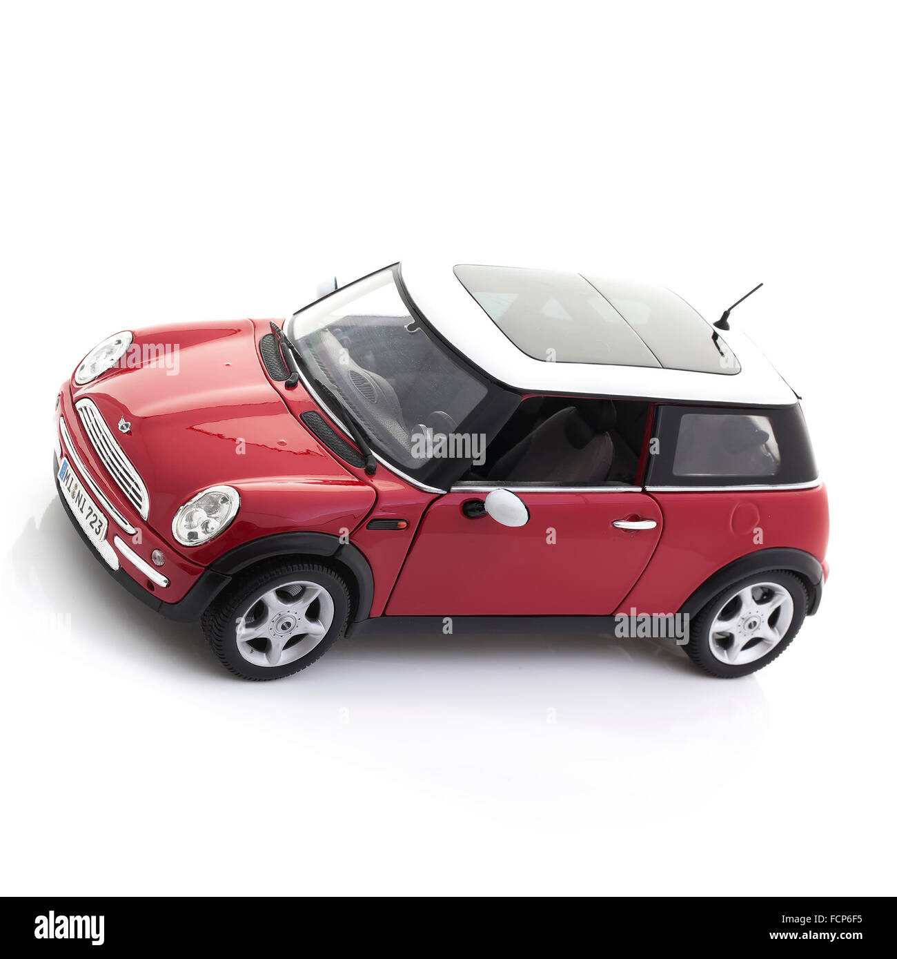 New Style Mini Cooper on a White Background - Stock Image