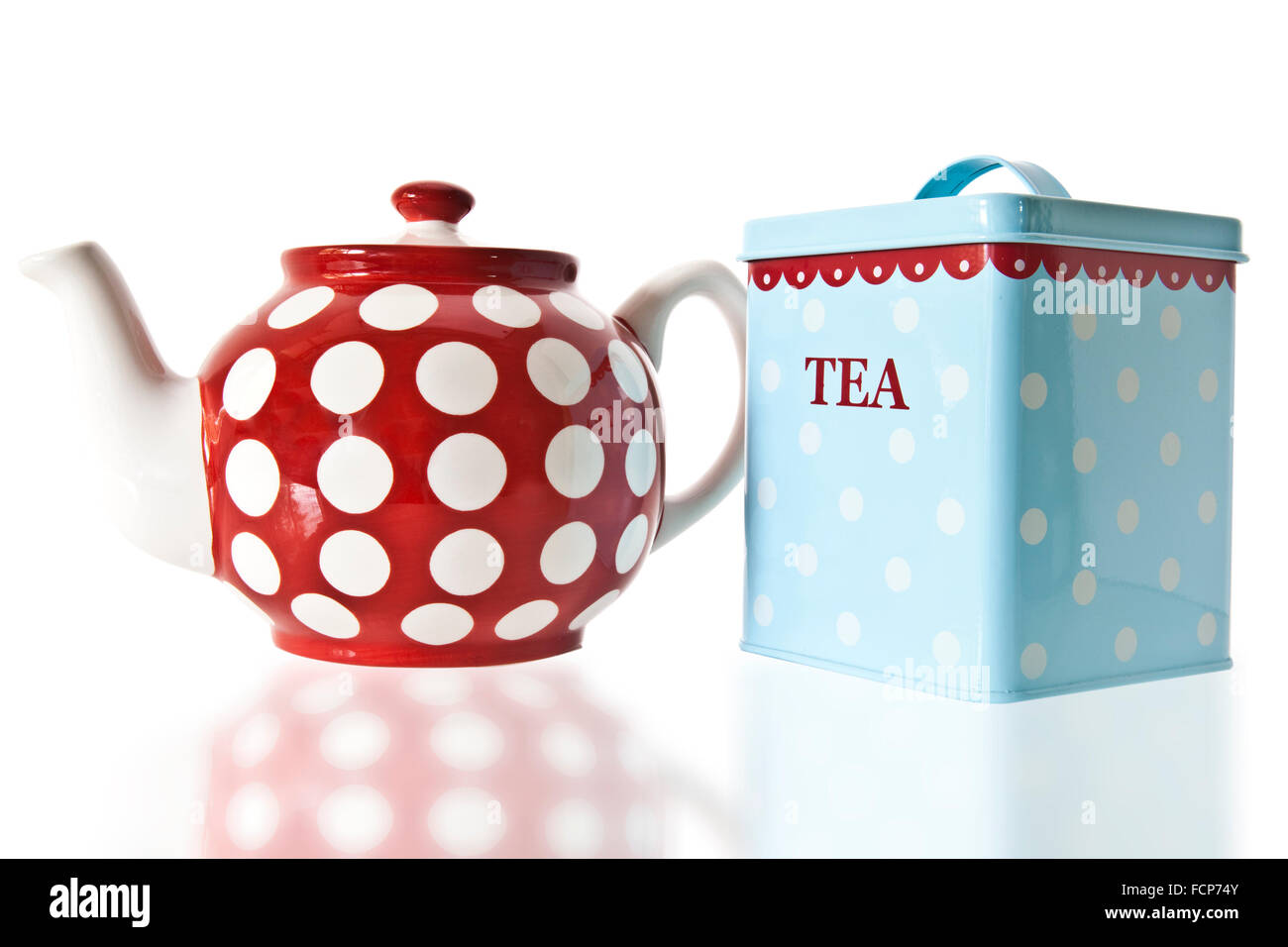 Tea Pot and Caddy On a white background - Stock Image