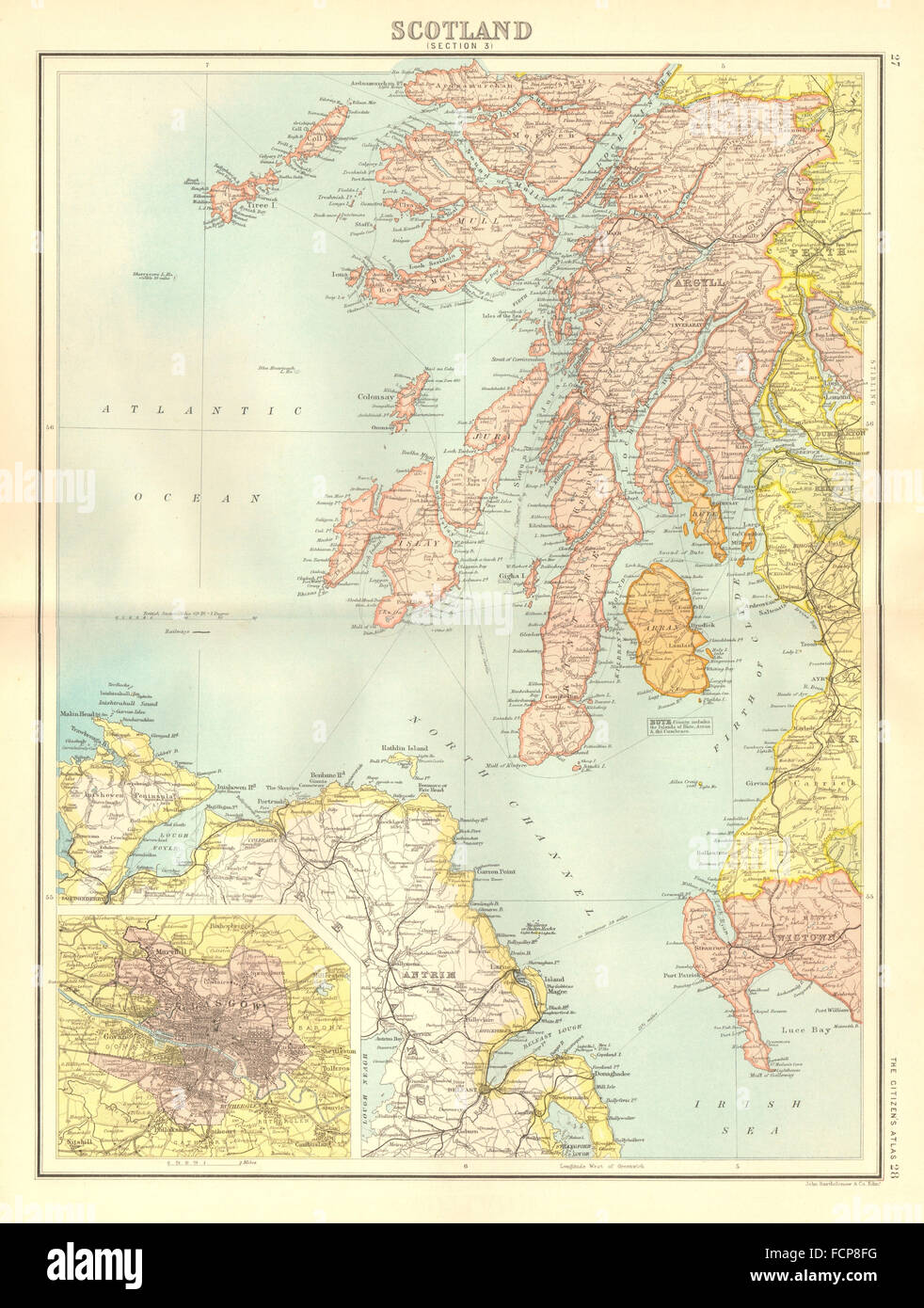 Islay Scotland Map.Argyll Antrim Scotland Sw Islay Jura Arran Bute Kintyre Glasgow