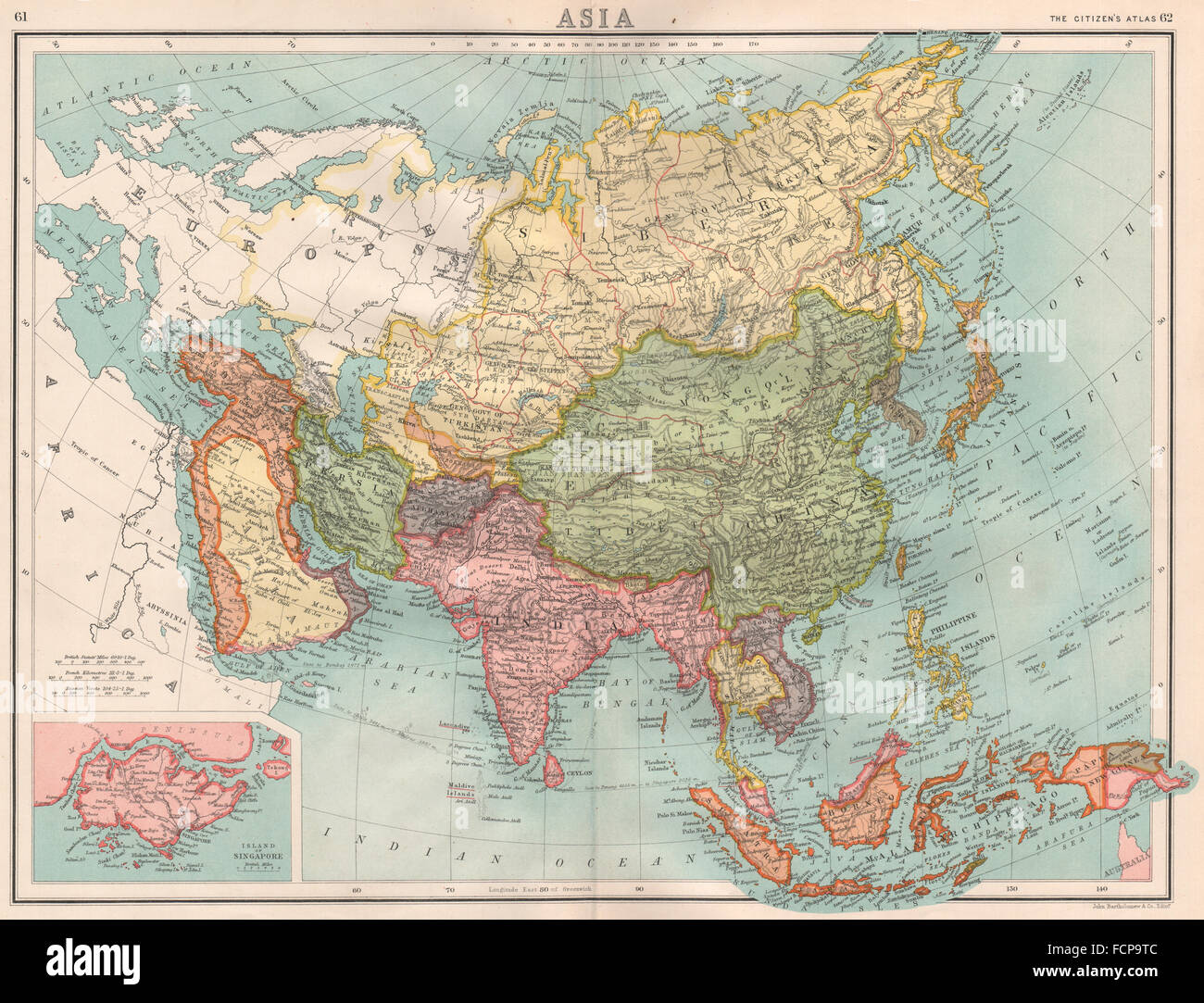 ASIA: large inset map of Singapore island. Ottoman Empire ...