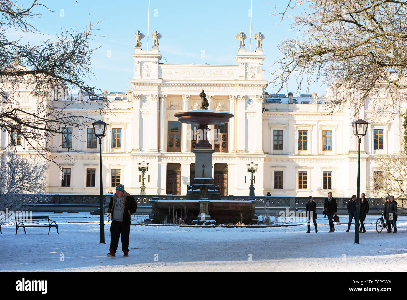 Lund, Sweden - January 21, 2016: Regia Academia Carolina is the original name of Lund university. This is the main - Stock Image