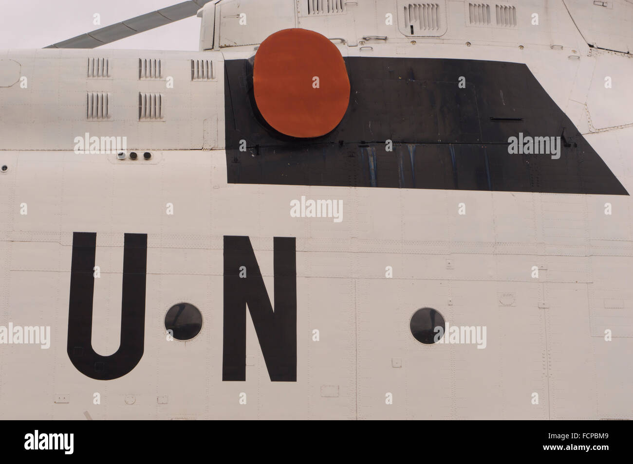 UN Symbol on Helicopter - Stock Image