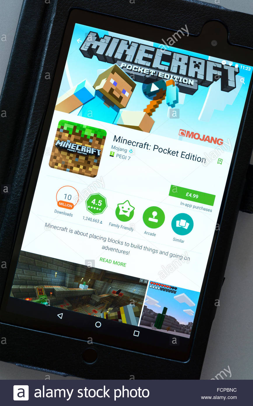 Minecraft video game, app on an android tablet PC, Dorset, England, UK - Stock Image